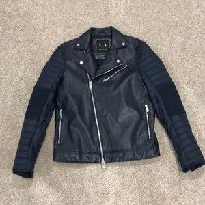 Armani Exchange M blue leather jacket!